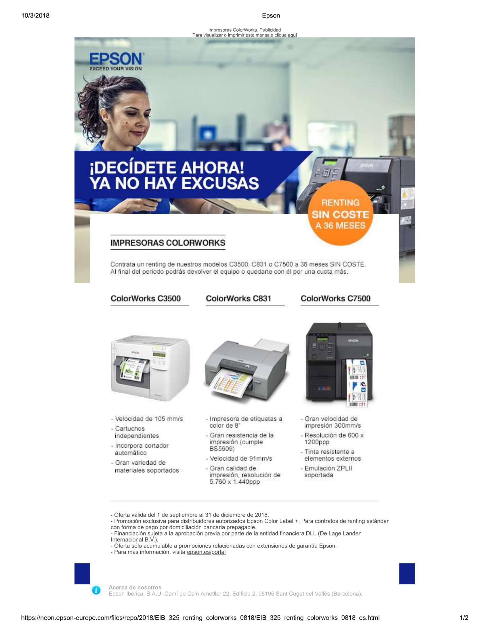 Impresoras Digitales Epson Impresoras Etiquetas A Color Epson