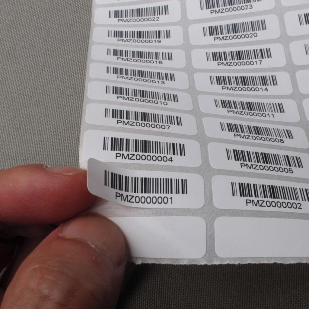 etiqueta con código de barras