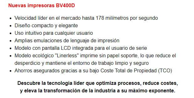 descubre la tecnología de la impresora bv400d_1